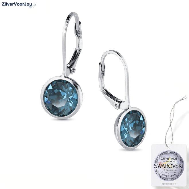 Zilveren montana blauw Swarovski oorhangers