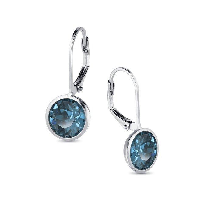 Zilveren montana blauw ronde leverback Swarovski oorhangers