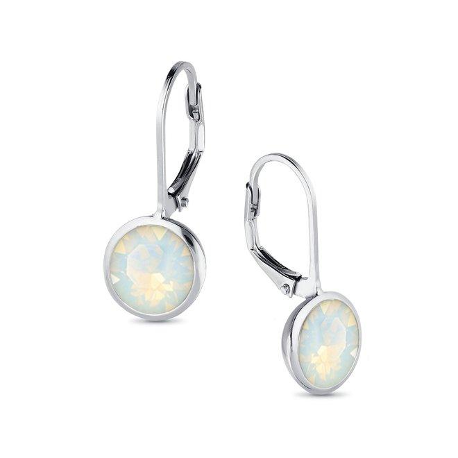 Zilveren wit opaal  ronde leverback Swarovski oorhangers