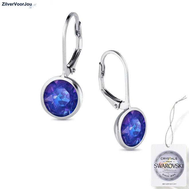 Zilveren royal blauw delight Swarovski oorhangers