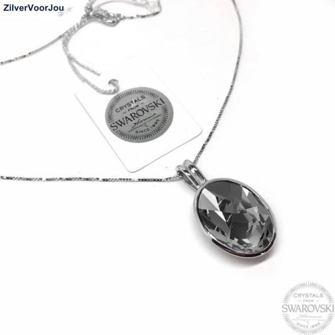 Zilveren Swarovski silver night kristal collier
