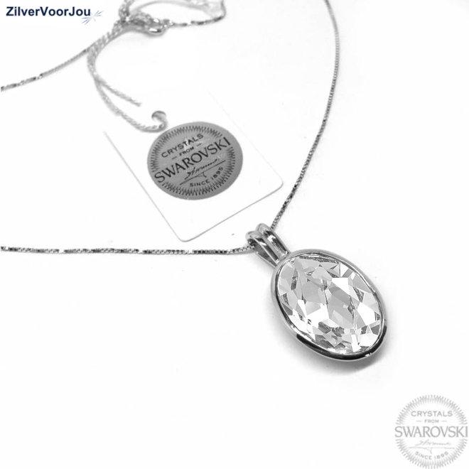Zilveren Swarovski wit kristal collier