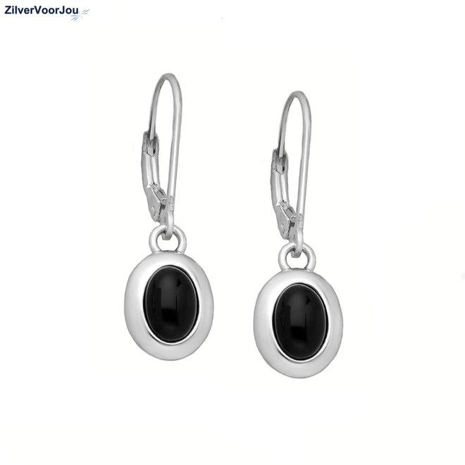 Zilveren lever back oorhangers ovale zwarte onyx