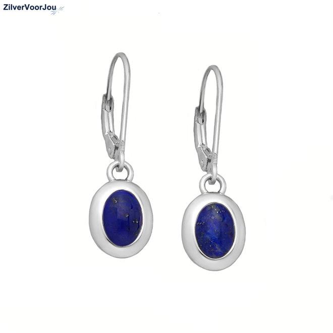 Zilveren lever back oorhangers blauwe lapis lazuli
