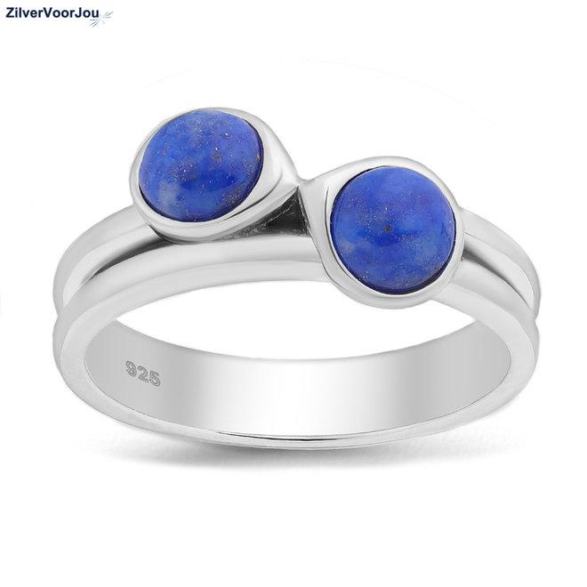 Zilveren blauwe lapis lazuli edelsteen ring