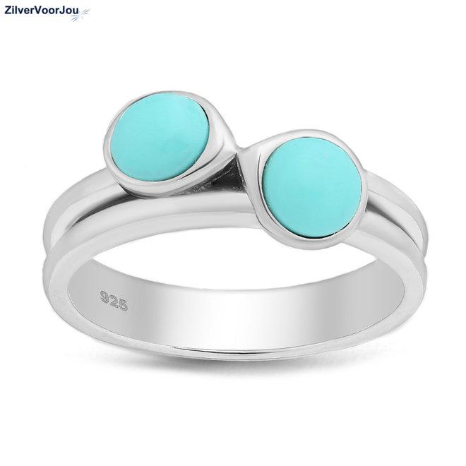 Zilveren sky blue turkoois ring