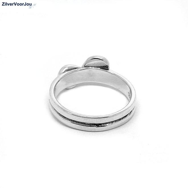 Zilveren zwarte onyx steen ring