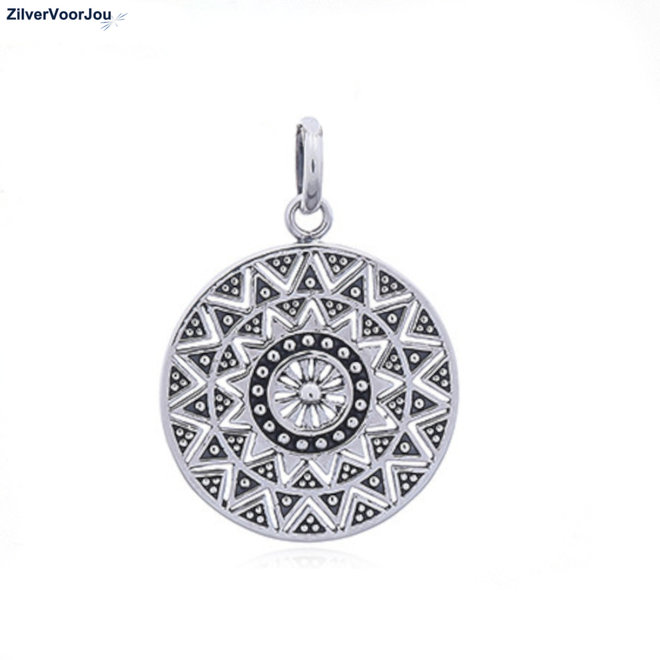 925 Zilveren mandala zon kettinghanger