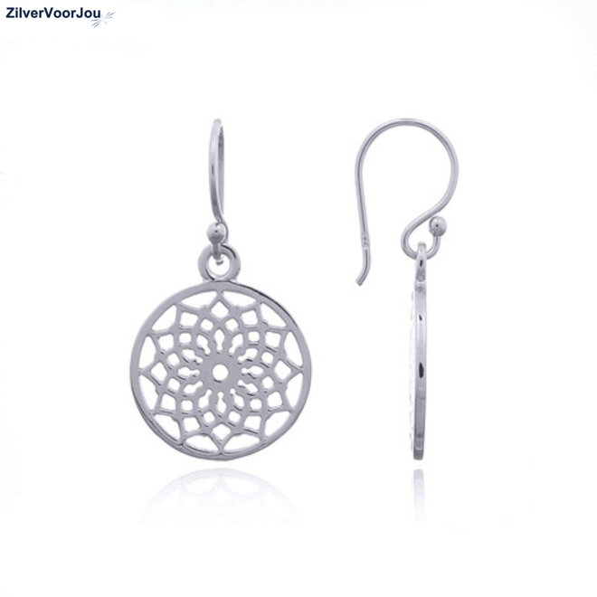 Zilveren lotus mandala bloem oorhangers