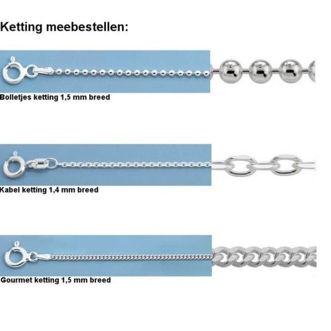 Zilveren initiaal D kettinghanger