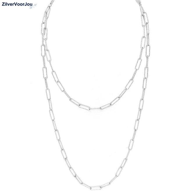 Zilveren lange rechthoek link ketting
