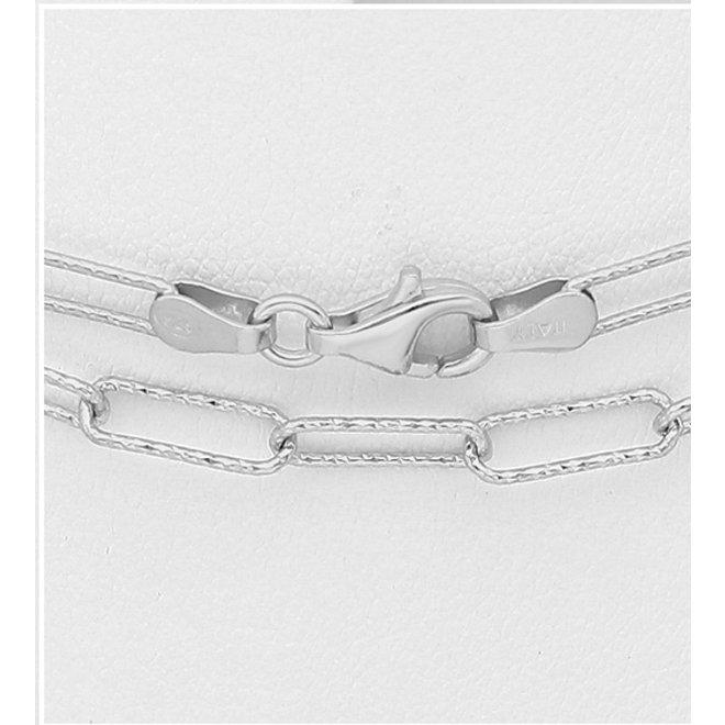 Zilveren lange rechthoek link ketting 118 cm