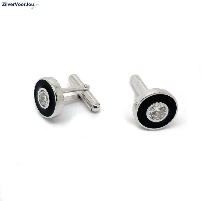 Zilveren manchetknopen zwart rond zirkoon