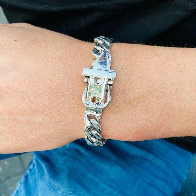 Zilveren gesp grove gourmet schakel armband