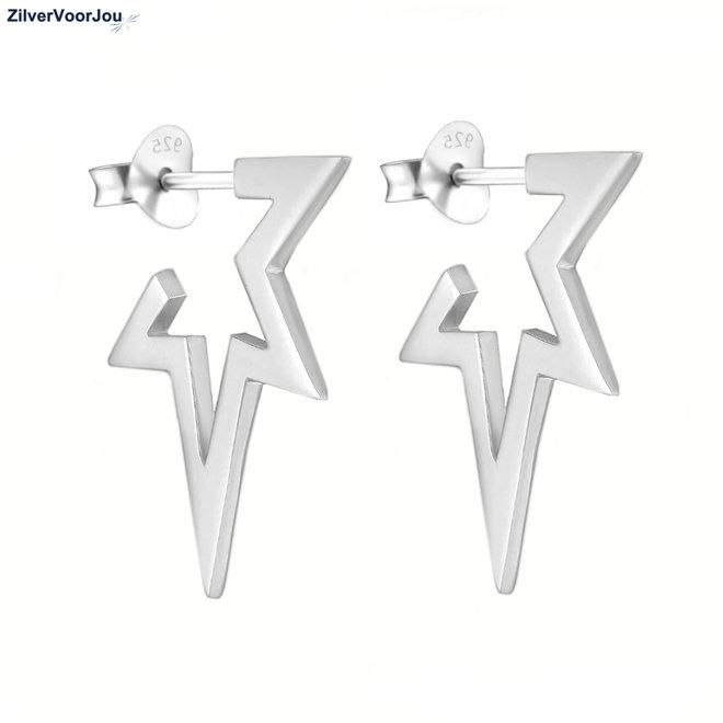 Zilveren stoere open ster oorstekers