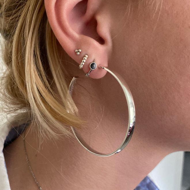 Zilveren grote steek oorringen 54 mm