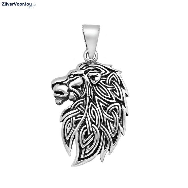 Zilveren keltische leeuw kettinghanger