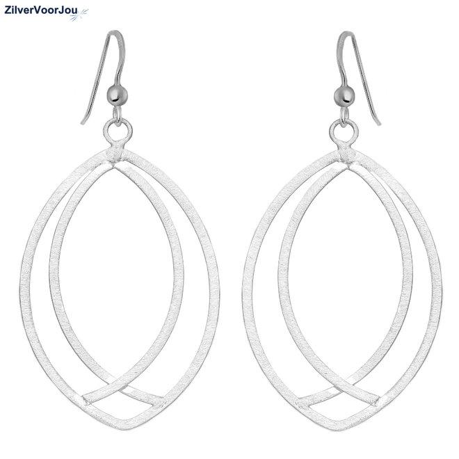 925 mat zilveren grote ovale oorhangers