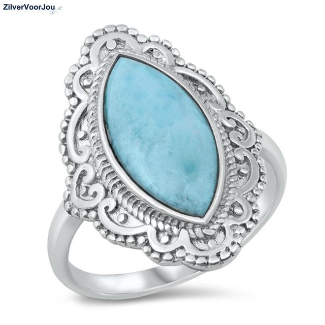 Zilveren larimar sier ring