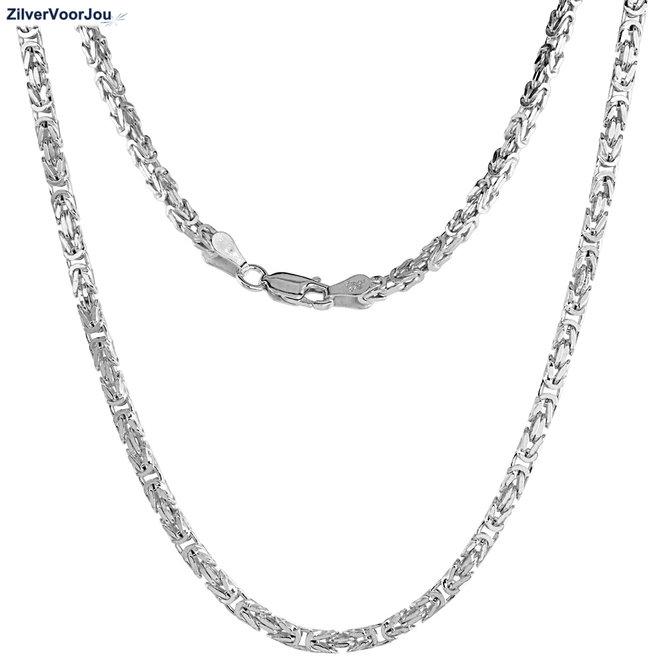 Zilveren ketting koningsschakel 55 cm 3 mm breed