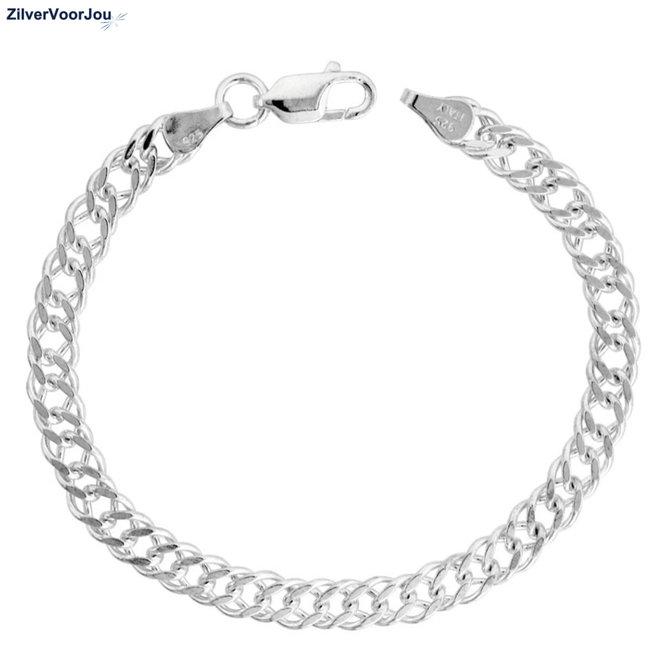 Zilveren dubbele gourmet rombo schakelarmband  5.6 mm breed