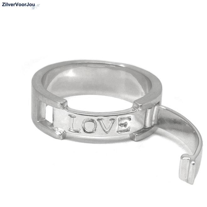 Zilveren dames of  heren love ring mat hoogglans