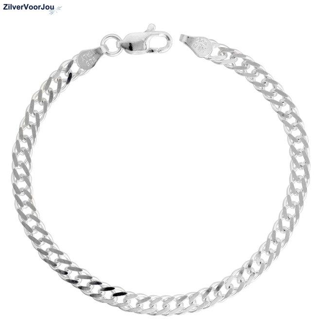 Zilveren dubbele gourmet rombo schakelarmband  4 mm breed