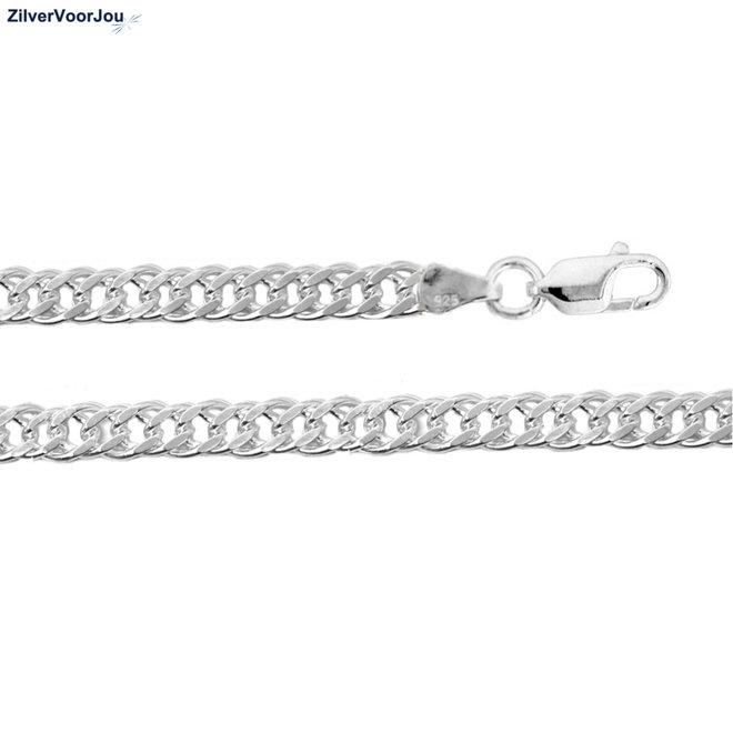 Zilveren 55 cm dubbele gourmet schakel ketting 4 mm breed