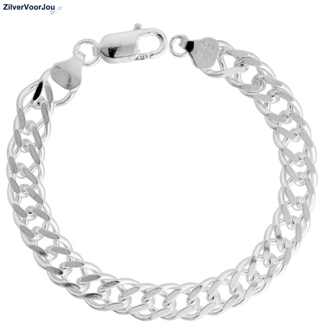 Zilveren dubbele gourmet rombo schakelarmband  8.1 mm breed