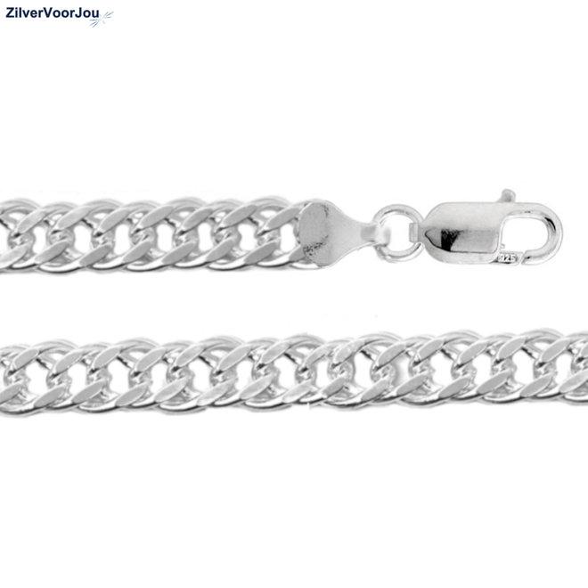 Zilveren 55 cm dubbele gourmet schakel ketting 8.1 mm