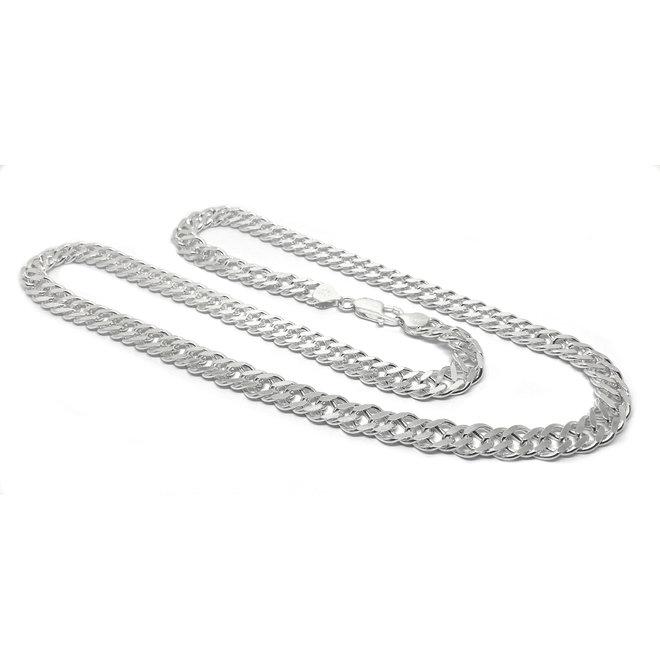 Zilveren 55 cm dubbele gourmet schakel ketting 8.1 mm breed