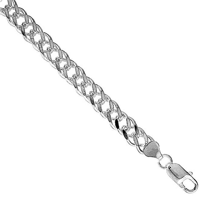 Zilveren 50 cm dubbele gourmet schakel ketting 6.7 mm breed
