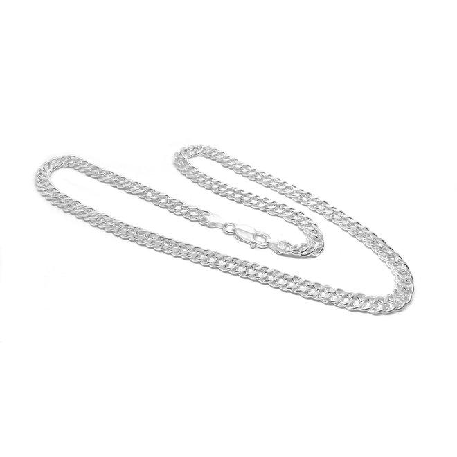 Zilveren 45 cm dubbele gourmet schakel ketting 6.7 mm breed