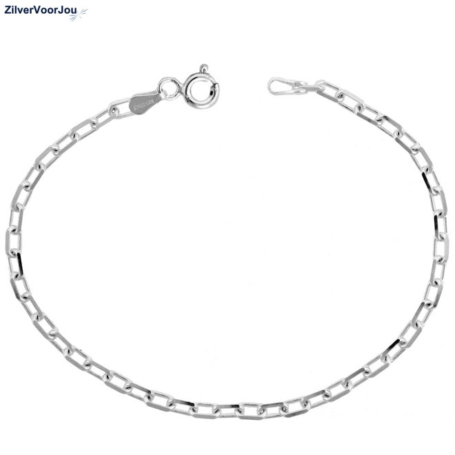 925 Zilveren boston schakel armbandje 3 mm breed