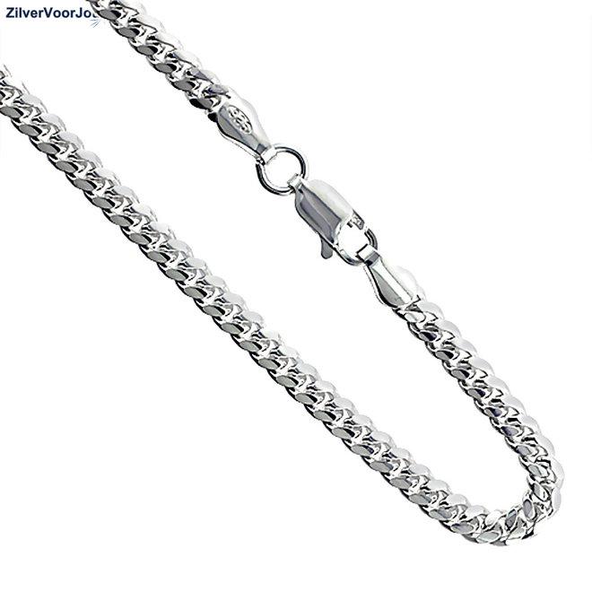 Zilveren 45 cm miami cuban link gourmet ketting  3.4 mm breed