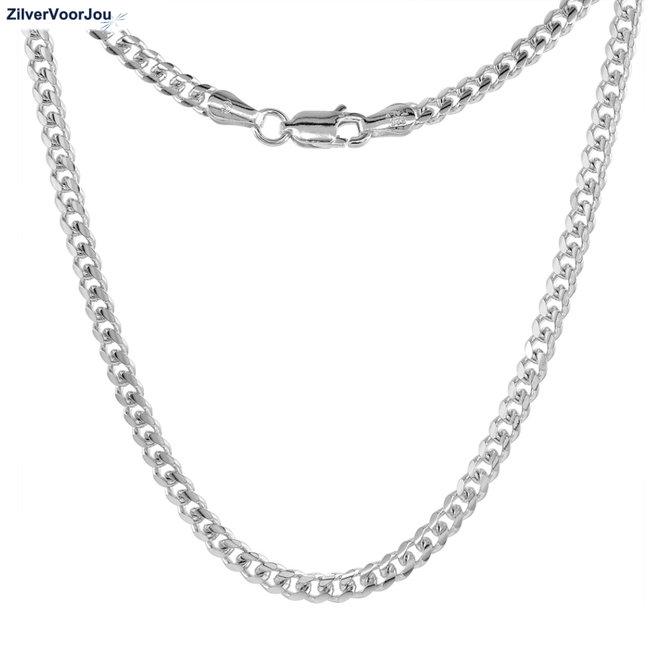 Zilveren 45 cm miami cuban link ketting  3.4 mm