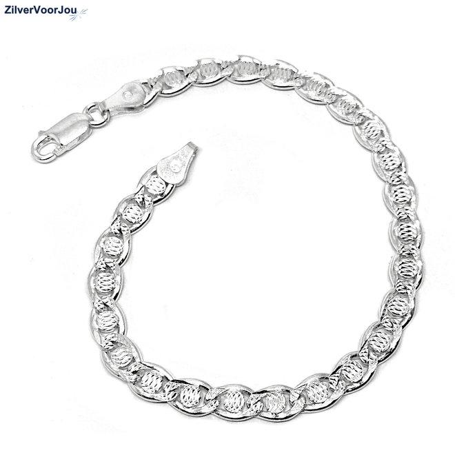 Zilveren Valentino schakel armband 5 mm breed