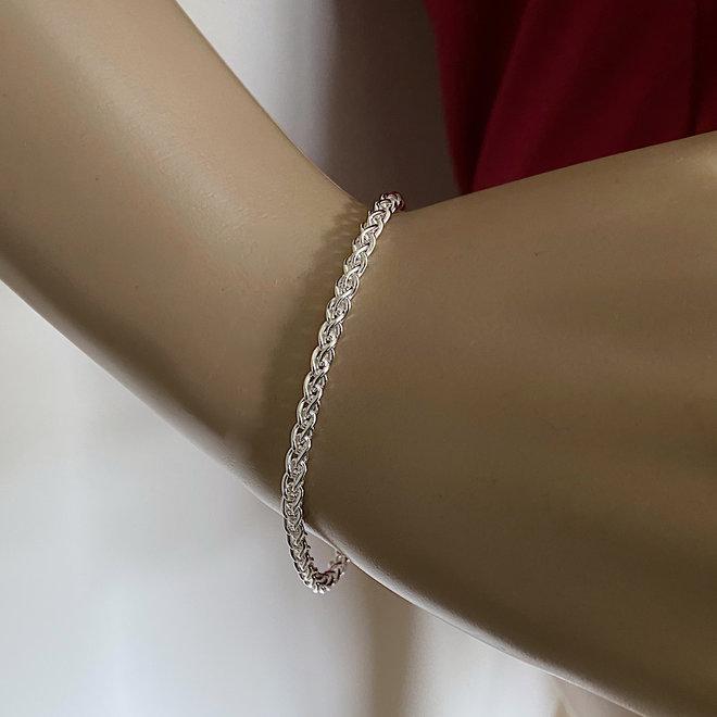 Zilveren spiga wheat armband 3 mm