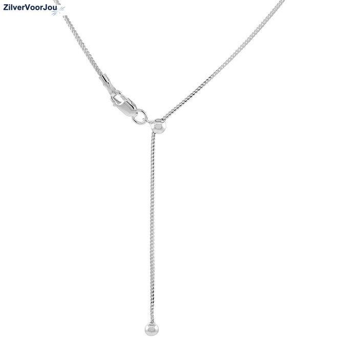 Zilveren franco ketting verstelbaar 60 cm