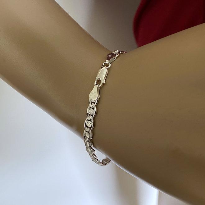 Zilveren Valentino diamond cut schakel armband 5 mm breed