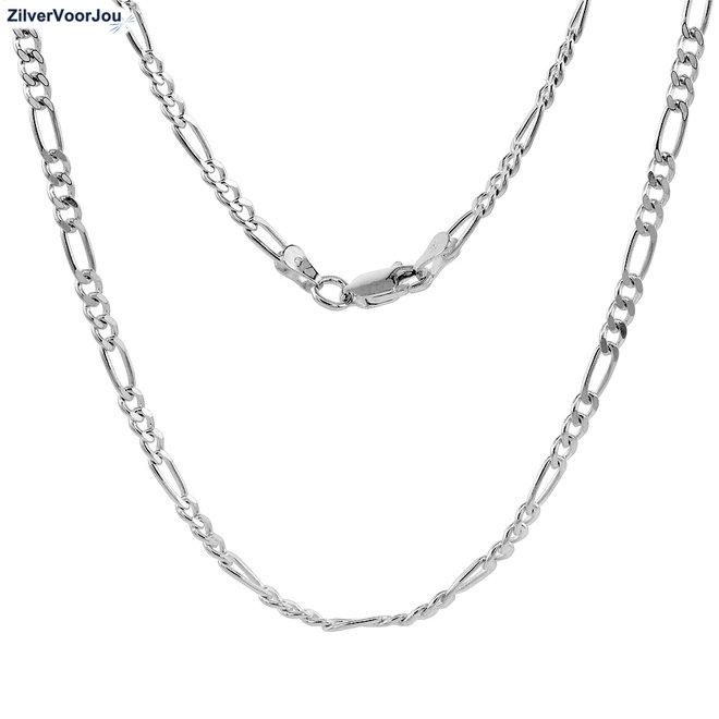 Zilveren figaro schakel ketting 76 cm 3 mm
