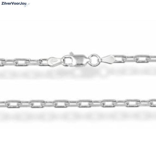 Zilveren vierkante kabel ketting 70 cm 3.9 mm breed