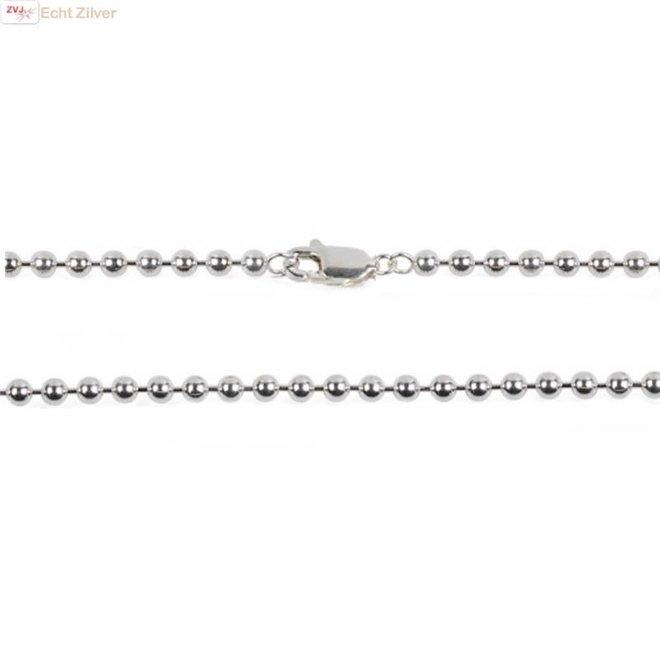 Zilveren balletjes ketting 50 cm 2 mm