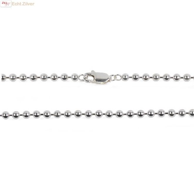 Zilveren balletjes ketting 60 cm 2.5 mm breed