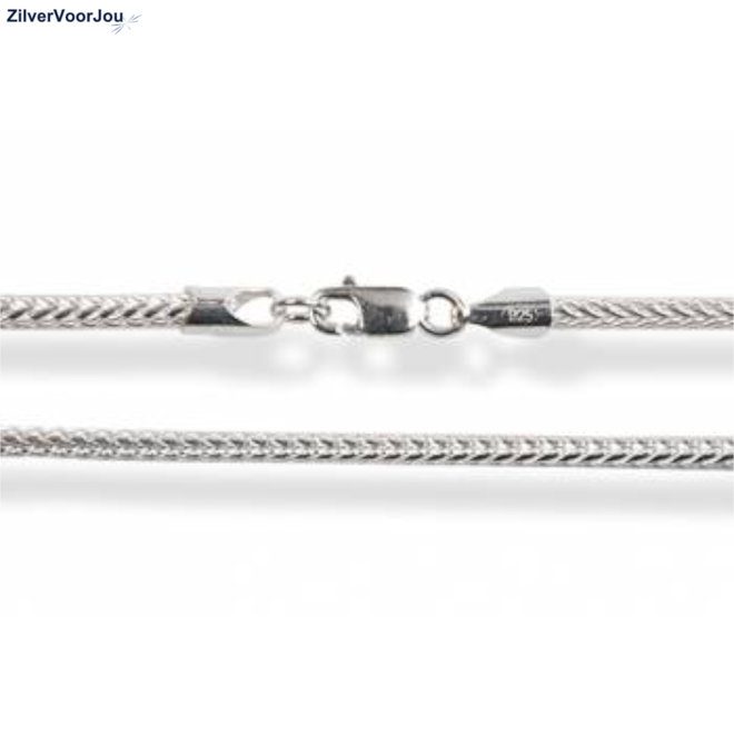 Zilveren foxtail ketting 70 cm 2 mm breed
