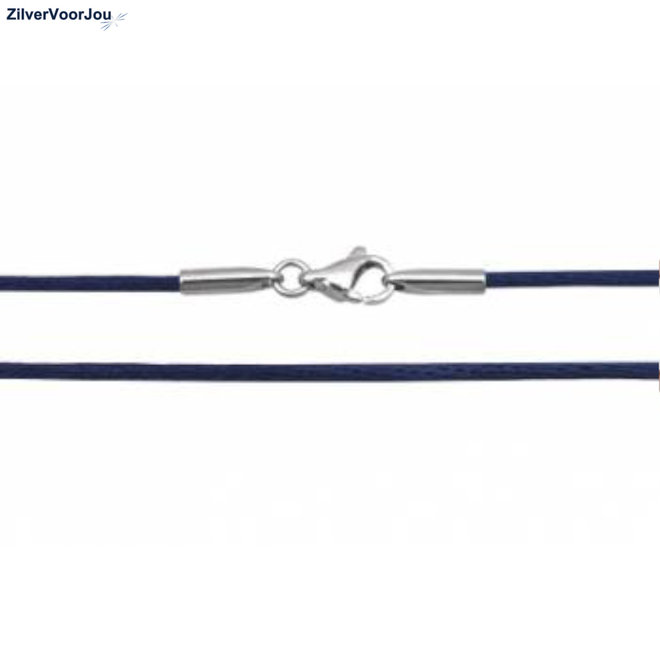 Blauw zijden koord zilveren sluiting ketting
