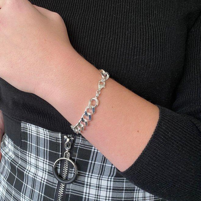 Zilveren gourmet schakel armband 9 mm
