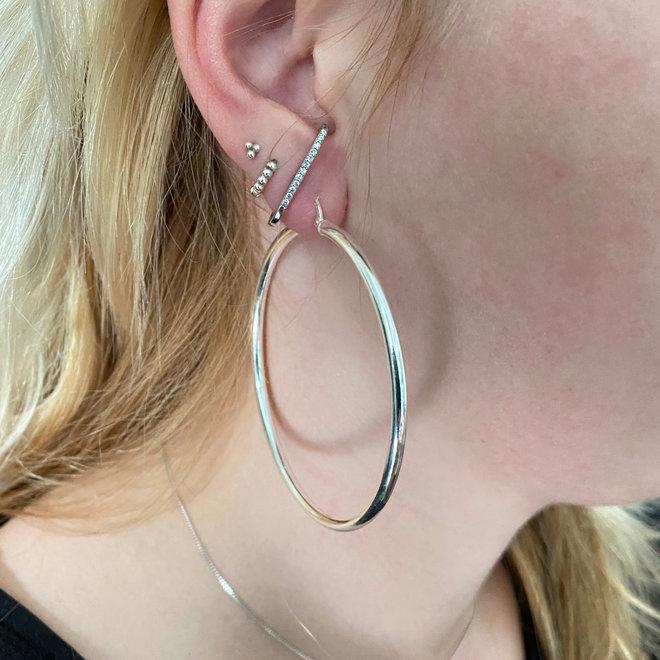 Zilveren scharnier oorringen 65 mm, 3 mm  ronde buis
