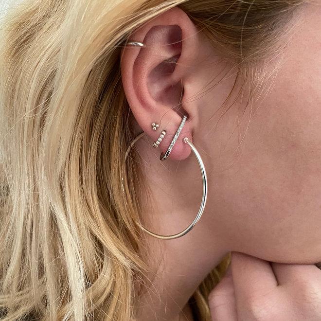 Zilveren scharnier oorringen 50 mm, 2 mm ronde buis