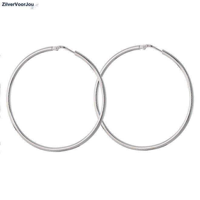 Zilveren scharnier oorringen 50 mm